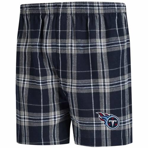 CONCEPTS SPORT テネシー タイタンズ インナー 下着 ナイトウエア メンズ 【 Tennessee Titans Hillstone Flannel Boxers - Navy/gray 】 Navy/gray