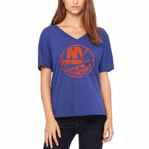 LET LOOSE BY RNL レディース ブイネック Tシャツ レディースファッション トップス カットソー 【 New York Islanders Womens Distressed Primary V-neck T-shirt - Royal 】 Royal