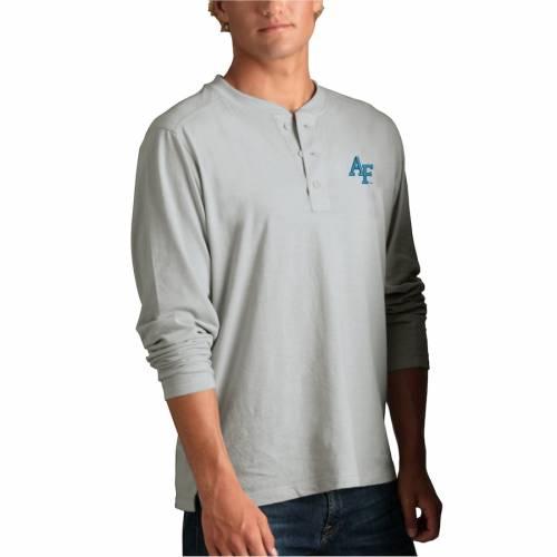 VANTAGE APPAREL エア ファルコンズ ヘンリー Tシャツ 銀色 シルバー メンズファッション トップス カットソー メンズ 【 Air Force Falcons Cambridge Henley 3/4-sleeve T-shirt - Silver 】 Silver