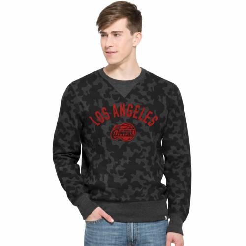 '47 クリッパーズ ステルス 黒 ブラック '47 【 BLACK LA CLIPPERS BRAND STEALTH CAMO SWEATSHIRT 】 メンズファッション トップス スウェット トレーナー