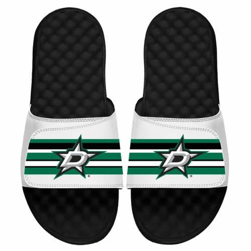 ISLIDE ダラス 子供用 ストライプ ロゴ サンダル 白 ホワイト キッズ ベビー マタニティ ジュニア 【 Dallas Stars Youth Stripe Logo Slide Sandals - White 】 White