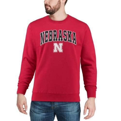 COLOSSEUM ロゴ 黒 ブラック メンズファッション トップス スウェット トレーナー メンズ 【 Nebraska Cornhuskers Arch And Logo Crew Neck Sweatshirt - Black 】 Scarlet