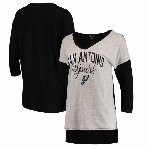 GAMEDAY COUTURE スパーズ レディース マッチ ブイネック Tシャツ 灰色 グレー グレイ WOMEN'SGRAY GAMEDAY COUTURE SAN ANTONIO SPURS MEET YOUR MATCH COLORBLOCK 3 4SLEEVE TRIBLEND VNECK TSHIRT HEATHEREDレディースrBoWQxeCd