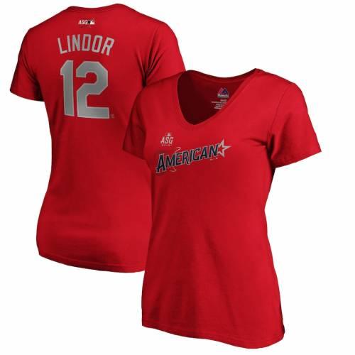 マジェスティック MAJESTIC マジェスティック レディース ゲーム ブイネック Tシャツ 赤 レッド WOMEN'SGAME RED MAJESTIC FRANCISCO LINDOR AMERICAN LEAGUE 2019 MLB ALLSTAR NAME NUMBER VNECK TSHIRTレデrshdtQ