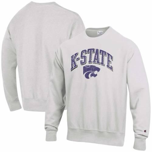チャンピオン CHAMPION カンザス スケートボード ロゴ リベンジ 灰色 グレー グレイ メンズファッション トップス スウェット トレーナー メンズ 【 Kansas State Wildcats Arch Over Logo Reverse Weave
