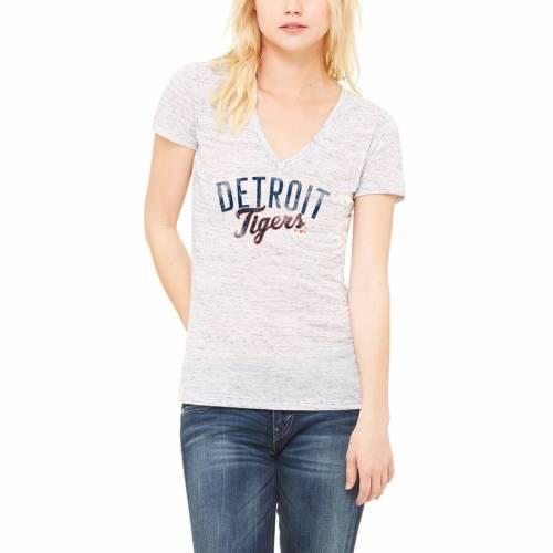 LET LOOSE BY RNL デトロイト タイガース レディース ディープ ブイネック Tシャツ 白 ホワイト WOMEN'S 【 WHITE LET LOOSE BY RNL DETROIT TIGERS ENDLESS DEEP VNECK TSHIRT 】 レディースファッション トップス