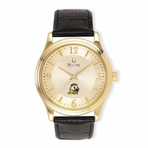 ブローバ BULOVA オレゴン ステンレス 銀色 スチール レザー ウォッチ 時計 金色 ゴールド 黒 ブラック 【 WATCH BLACK BULOVA OREGON DUCKS STAINLESS STEEL LEATHER BAND GOLD 】 腕時計 メンズ腕時計