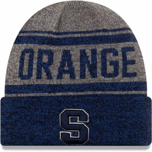ニューエラ NEW ERA シラキュース 橙 オレンジ ニット バッグ キャップ 帽子 メンズキャップ メンズ 【 Syracuse Orange Stated Cuffed Knit Hat - Gray/navy 】 Gray/navy