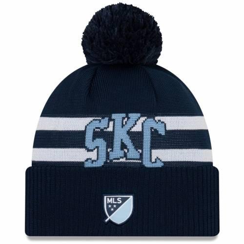 ニューエラ NEW ERA カンザス シティ タイム ニット 紺 ネイビー バッグ キャップ 帽子 メンズキャップ メンズ 【 Sporting Kansas City On-field Stoppage Time Cuffed Knit Hat With Pom - Navy 】 Navy