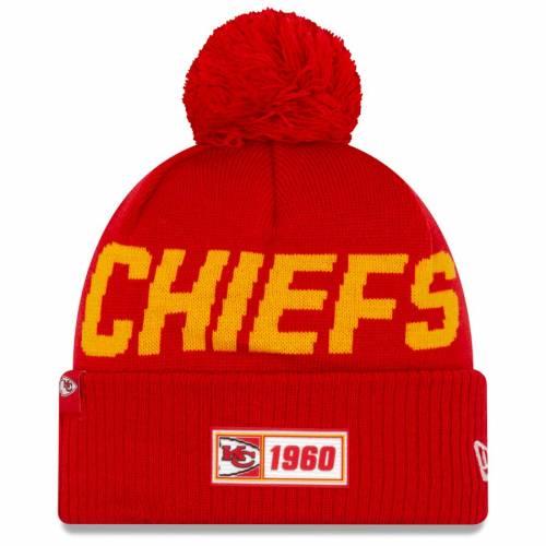 ニューエラ NEW ERA カンザス シティ チーフス サイドライン ニット 赤 レッド バッグ キャップ 帽子 メンズキャップ メンズ 【 Kansas City Chiefs 2019 Nfl Sideline Road Official Sport Knit Hat - Red 】 Red