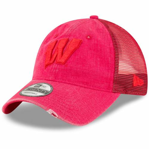 ニューエラ NEW ERA ウィスコンシン トラッカー 赤 レッド バッグ キャップ 帽子 メンズキャップ メンズ 【 Wisconsin Badgers Tonal Washed Trucker 9twenty Adjustable Hat - Red 】 Red