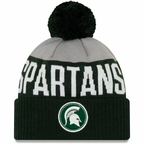 ニューエラ NEW ERA ミシガン スケートボード ニット 緑 グリーン バッグ キャップ 帽子 メンズキャップ メンズ 【 Michigan State Spartans Patch Cuffed Knit Hat With Pom - Green 】 Green