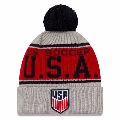 ニューエラ NEW ERA サッカー ストライプ ニット 灰色 グレー グレイ バッグ キャップ 帽子 メンズキャップ メンズ 【 Us Soccer Stripe Cuffed Knit Hat With Pom - Gray 】 Gray