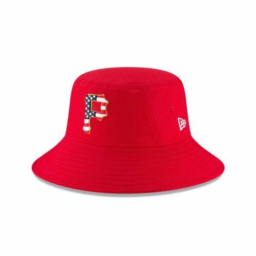 ニューエラ NEW ERA ピッツバーグ 海賊団 赤 レッド バッグ キャップ 帽子 メンズキャップ メンズ 【 Pittsburgh Pirates 2018 Stars And Stripes 4th Of July Bucket Hat - Red 】 Red