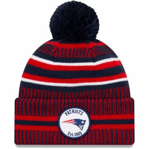 ニューエラ NEW ERA ペイトリオッツ サイドライン ニット バッグ キャップ 帽子 メンズキャップ メンズ 【 New England Patriots 2019 Nfl Sideline Home Official Sport Knit Hat - Navy/red 】 Navy/red