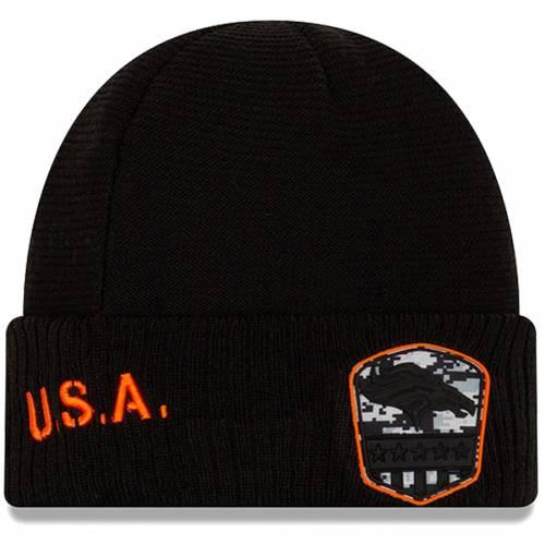 ニューエラ NEW ERA デンバー ブロンコス ニット 黒 ブラック バッグ キャップ 帽子 メンズキャップ メンズ 【 Denver Broncos 2019 Salute To Service Cuffed Knit Hat - Black 】 Black