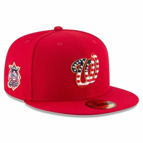 ニューエラ NEW ERA ワシントン ナショナルズ 赤 レッド バッグ キャップ 帽子 メンズキャップ メンズ 【 Washington Nationals 2018 Stars And Stripes 4th Of July On-field 59fifty Fitted Hat - Red 】 Red