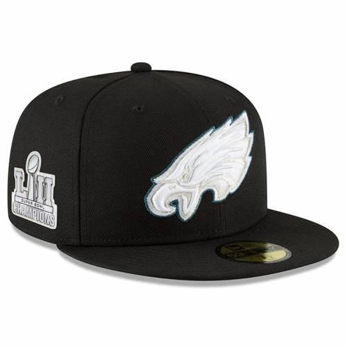 ニューエラ NEW ERA フィラデルフィア イーグルス 黒 ブラック バッグ キャップ 帽子 メンズキャップ メンズ 【 Philadelphia Eagles Super Bowl Lii Champions 2018 59fifty Fitted Hat - Black 】 Black
