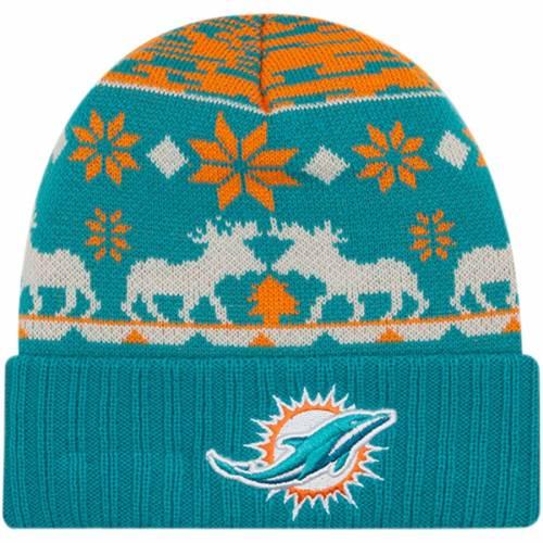 ニューエラ NEW ERA マイアミ ドルフィンズ ニット アクア バッグ キャップ 帽子 メンズキャップ メンズ 【 Miami Dolphins Mooser Cuffed Knit Hat - Aqua 】 Aqua