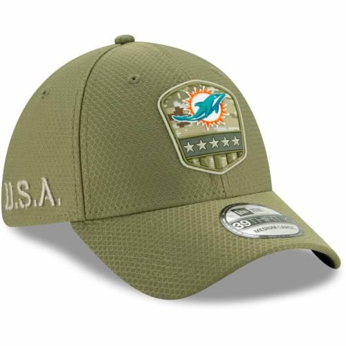 ニューエラ NEW ERA マイアミ ドルフィンズ サイドライン オリーブ バッグ キャップ 帽子 メンズキャップ メンズ 【 Miami Dolphins 2019 Salute To Service Sideline 39thirty Flex Hat - Olive 】 Olive