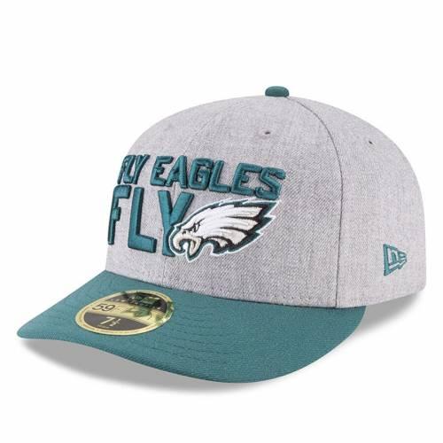 ニューエラ NEW ERA フィラデルフィア イーグルス ヘザー バッグ キャップ 帽子 メンズキャップ メンズ 【 Philadelphia Eagles 2018 Nfl Draft Official On-stage Low Profile 59fifty Fitted Hat - Heather Gray/green