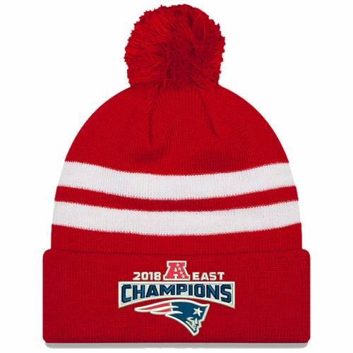 ニューエラ NEW ERA ペイトリオッツ ニット 赤 レッド バッグ キャップ 帽子 メンズキャップ メンズ 【 New England Patriots 2018 Afc East Division Champions Cuffed Pom Knit Hat - Red 】 Red