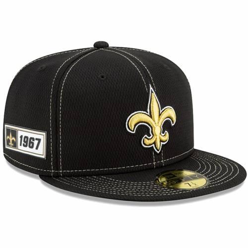 ニューエラ NEW ERA セインツ サイドライン 黒 ブラック バッグ キャップ 帽子 メンズキャップ メンズ 【 New Orleans Saints 2019 Nfl Sideline Road Official 59fifty Fitted Hat - Black 】 Black