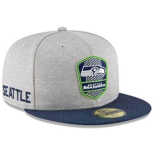 ニューエラ NEW ERA シアトル シーホークス サイドライン ヘザー バッグ キャップ 帽子 メンズキャップ メンズ 【 Seattle Seahawks 2018 Nfl Sideline Road Official 59fifty Fitted Hat - Heather Gray/navy 】 Heath