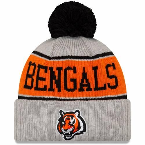 ニューエラ NEW ERA シンシナティ ベンガルズ ストライプ ニット 灰色 グレー グレイ バッグ キャップ 帽子 メンズキャップ メンズ 【 Cincinnati Bengals Stripe Cuffed Knit Hat With Pom - Gray 】 Gray