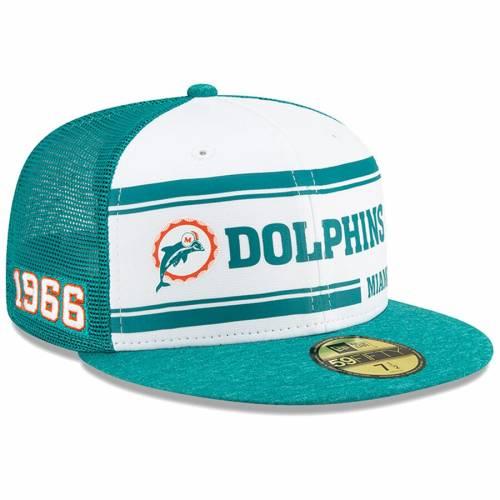 ニューエラ NEW ERA マイアミ ドルフィンズ サイドライン ロゴ バッグ キャップ 帽子 メンズキャップ メンズ 【 Miami Dolphins 2019 Nfl Sideline Home Official Historic Logo 59fifty 1970s Fitted Hat - White/aqua