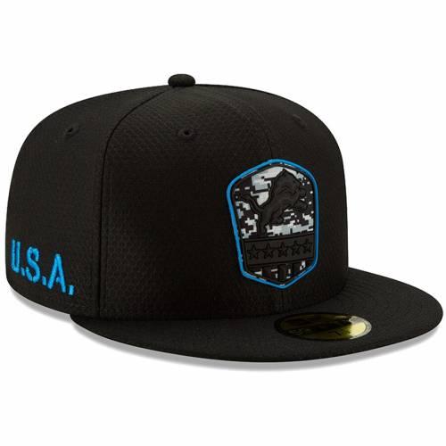 ニューエラ NEW ERA デトロイト ライオンズ 黒 ブラック バッグ キャップ 帽子 メンズキャップ メンズ 【 Detroit Lions 2019 Salute To Service 59fifty Fitted Hat - Black 】 Black