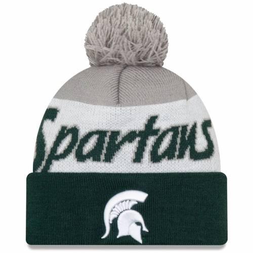 ニューエラ NEW ERA ミシガン スケートボード スクリプト ニット 緑 グリーン バッグ キャップ 帽子 メンズキャップ メンズ 【 Michigan State Spartans Script Cuffed Knit Hat With Pom - Green 】 Green