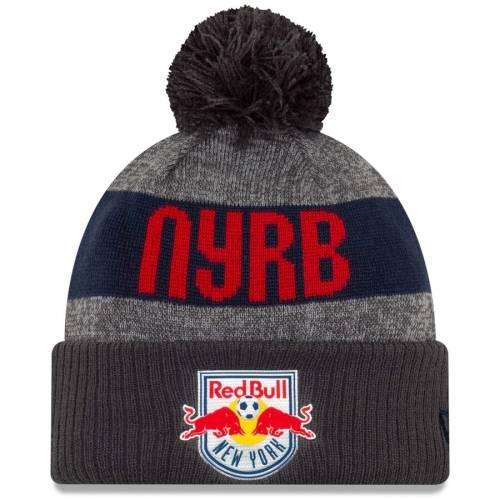 ニューエラ NEW ERA 赤 レッド ブルズ ニット バッグ キャップ 帽子 メンズキャップ メンズ 【 New York Red Bulls 2019 On-field Cuffed Knit Hat With Pom - Gray/charcoal 】 Gray/charcoal