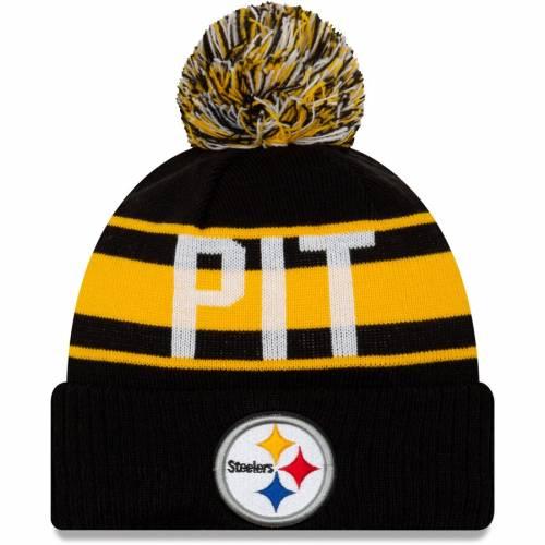 ニューエラ NEW ERA ピッツバーグ スティーラーズ ニット 黒 ブラック バッグ キャップ 帽子 メンズキャップ メンズ 【 Pittsburgh Steelers Retro Redux Cuffed Knit Hat - Black 】 Black