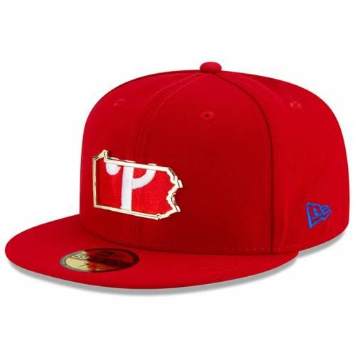 ニューエラ NEW ERA フィラデルフィア フィリーズ メタル スケートボード 赤 レッド バッグ キャップ 帽子 メンズキャップ メンズ 【 Philadelphia Phillies Metal And Thread State 59fifty Fitted Hat - Red
