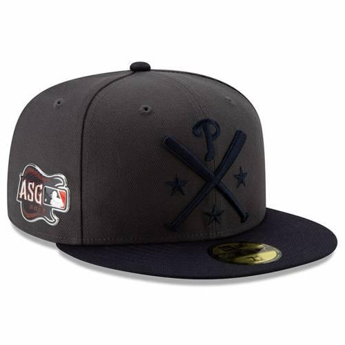 ニューエラ NEW ERA フィラデルフィア フィリーズ ワークアウト バッグ キャップ 帽子 メンズキャップ メンズ 【 Philadelphia Phillies 2019 Mlb All-star Workout On-field 59fifty Fitted Hat - Graphite/navy 】 Gr