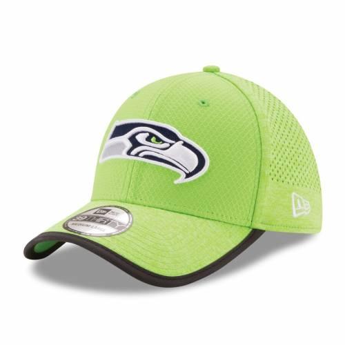 ニューエラ NEW ERA シアトル シーホークス トレーニング リベンジ 緑 グリーン バッグ キャップ 帽子 メンズキャップ メンズ 【 Seattle Seahawks 2017 Training Camp Reverse 39thirty Flex Hat - Neon Green
