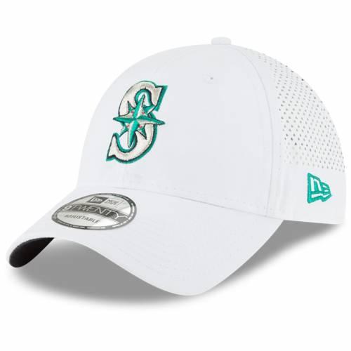 ニューエラ NEW ERA シアトル マリナーズ 白 ホワイト バッグ キャップ 帽子 メンズキャップ メンズ 【 Seattle Mariners Perforated Pivot 9twenty Adjustable Hat - White 】 White