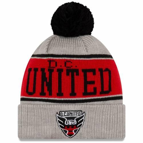 ニューエラ NEW ERA ストライプ ニット 灰色 グレー グレイ D.c. バッグ キャップ 帽子 メンズキャップ メンズ 【 D.c. United Stripe Cuffed Knit Hat With Pom - Gray 】 Gray