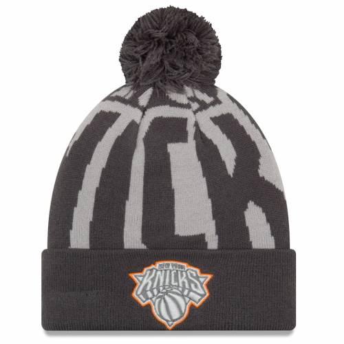 ニューエラ NEW ERA ニックス ロゴ ニット バッグ キャップ 帽子 メンズキャップ メンズ 【 New York Knicks Logo Whiz 3 Cuffed Knit Hat With Pom - Black/gray 】 Black/gray