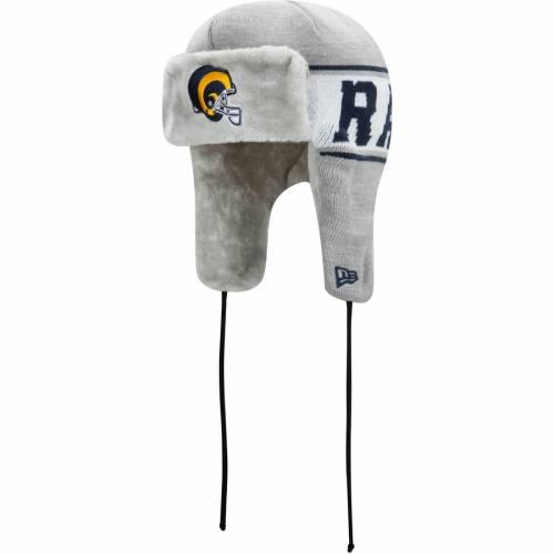 ニューエラ NEW ERA ラムズ ストライプ ニット 灰色 グレー グレイ バッグ キャップ 帽子 メンズキャップ メンズ 【 Los Angeles Rams Stripe Trapper Knit Hat - Gray 】 Gray