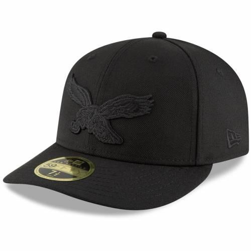 ニューエラ NEW ERA フィラデルフィア イーグルス ロゴ 黒 ブラック バッグ キャップ 帽子 メンズキャップ メンズ 【 Philadelphia Eagles Throwback Logo Low Profile 59fifty Fitted Hat - Black 】 Black