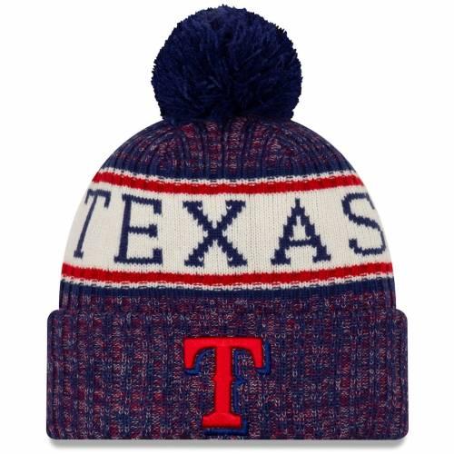 ニューエラ NEW ERA テキサス レンジャーズ ロゴ ニット バッグ キャップ 帽子 メンズキャップ メンズ 【 Texas Rangers Primary Logo Sport Cuffed Knit Hat With Pom - Royal 】 Royal