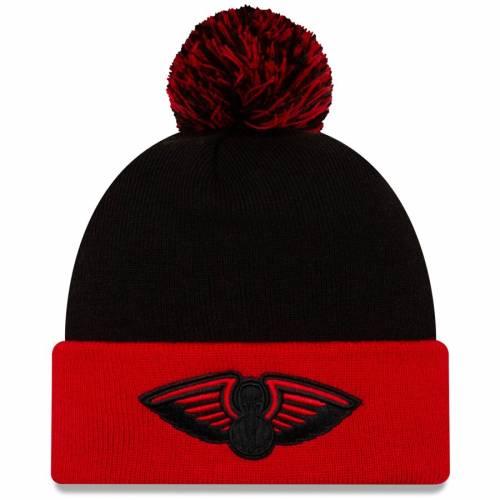 ニューエラ NEW ERA ニット バッグ キャップ 帽子 メンズキャップ メンズ 【 New Orleans Pelicans Cuffed Knit Hat With Pom - Black/red 】 Black/red