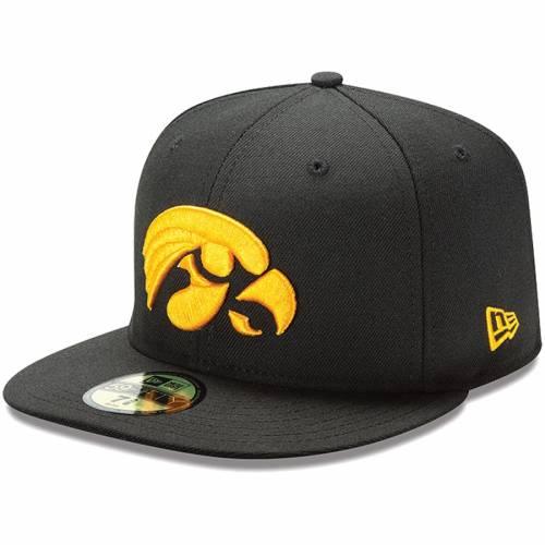 ニューエラ NEW ERA 黒 ブラック バッグ キャップ 帽子 メンズキャップ メンズ 【 Iowa Hawkeyes 59fifty Fitted Hat - Black 】 Black
