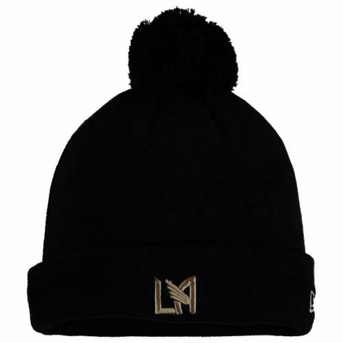 ニューエラ NEW ERA ロゴ ニット 黒 ブラック バッグ キャップ 帽子 メンズキャップ メンズ 【 Lafc Primary Logo Pom Cuffed Knit Hat - Black 】 Black