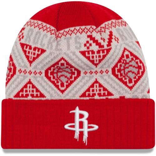 ニューエラ NEW ERA ヒューストン ロケッツ ロゴ ニット 赤 レッド バッグ キャップ 帽子 メンズキャップ メンズ 【 Houston Rockets Current Logo Cozy Cuffed Knit Hat - Red 】 Red