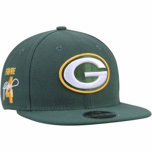 ニューエラ NEW ERA ブレット 緑 グリーン パッカーズ スナップバック バッグ キャップ 帽子 メンズキャップ メンズ 【 Brett Favre Green Bay Packers Signature Side 9fifty Adjustable Snapback Hat - Green 】 Gr