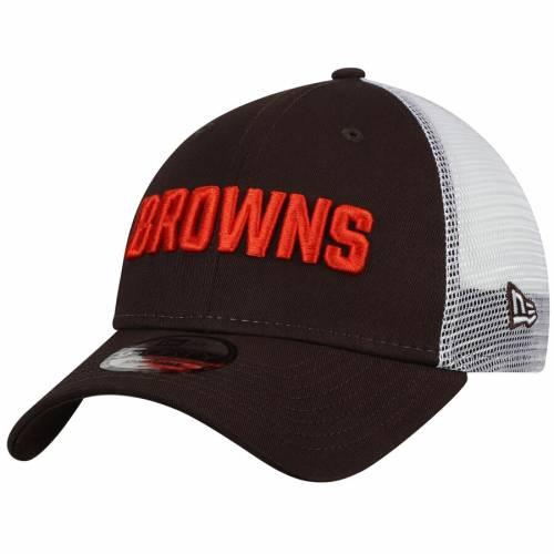 ニューエラ NEW ERA クリーブランド ブラウンズ チーム トラッカー スナップバック バッグ キャップ 帽子 メンズキャップ メンズ 【 Cleveland Browns Team Trucker 9forty Adjustable Snapback Hat - Brown/whi