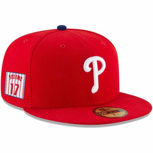 ニューエラ NEW ERA フィラデルフィア フィリーズ 赤 レッド バッグ キャップ 帽子 メンズキャップ メンズ 【 Rhys Hoskins Philadelphia Phillies Player Patch 59fifty Fitted Hat - Red 】 Red
